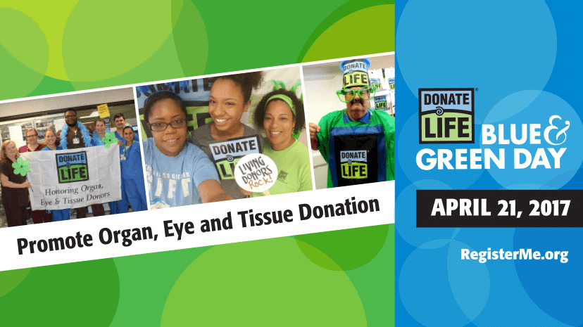 blue and green for Donate Life